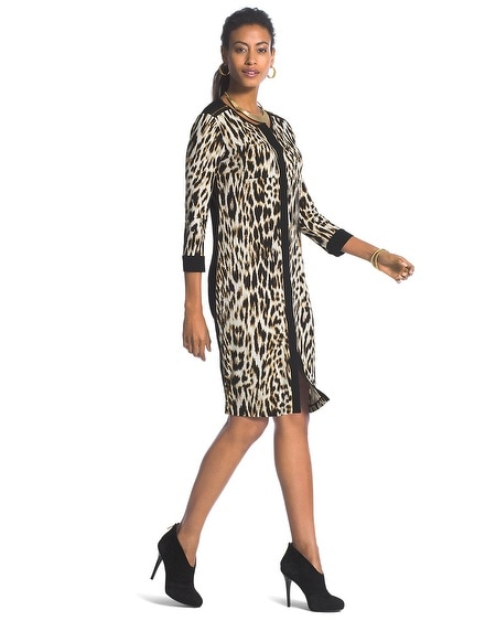 Speckled Animal-Blocked Shirtdress