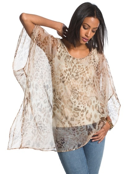 Heidi Animal-Print Poncho
