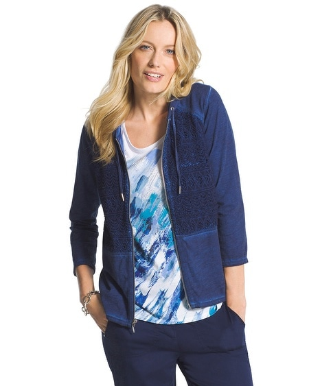 Zenergy Washed Crochet Hooded Jacket