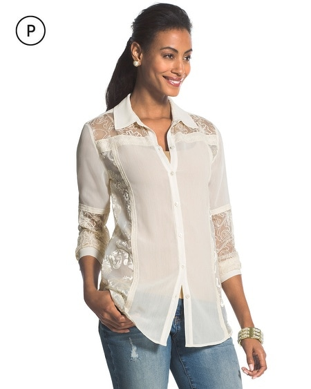 Petite Beautiful Burnout Natural Cream Blanche Shirt