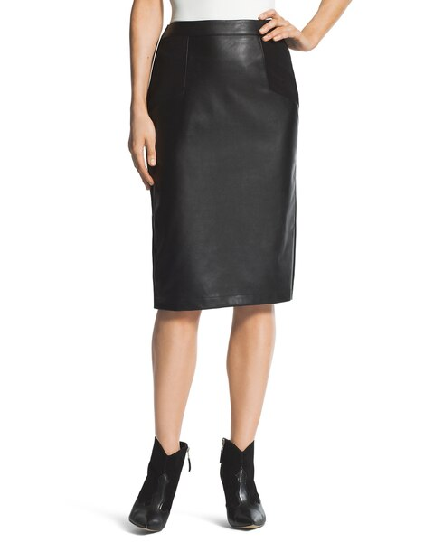 faux leather pieced pencil skirt chicos