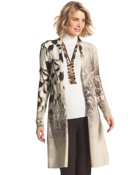 Neutral Paisley Andrea Long Cardigan