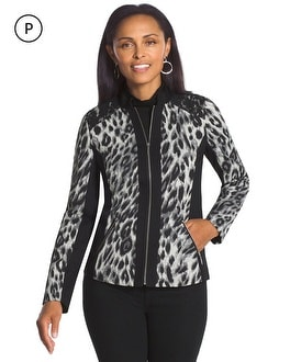 Petite Jacquard Leopard and Lace Jacket