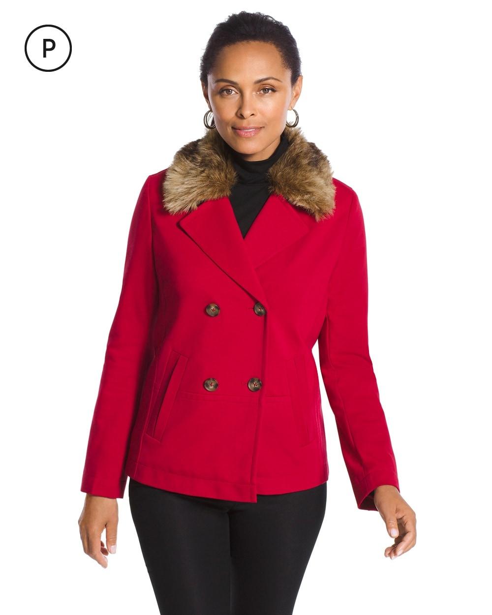06353e4f8e2 Petite Faux-Fur Pea Coat