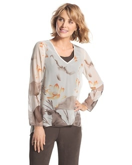 Travelers Collection Sheer Floral Top