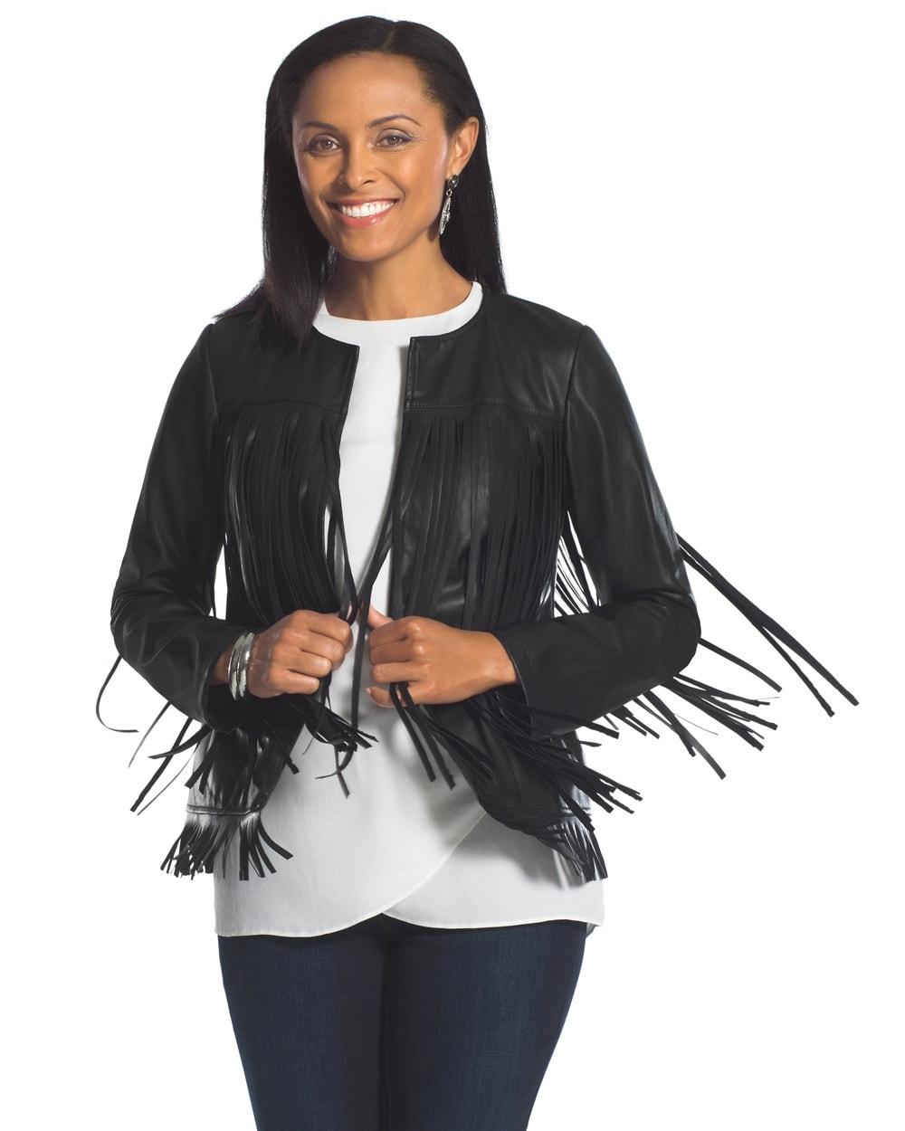 Leather jacket size 18 - Upc 451006727215 Chico S Black Fringe Faux Leather Jacket Size 3