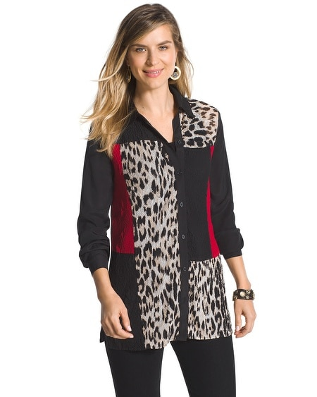 Roxanna Crinkle Animal-Mix Shirt