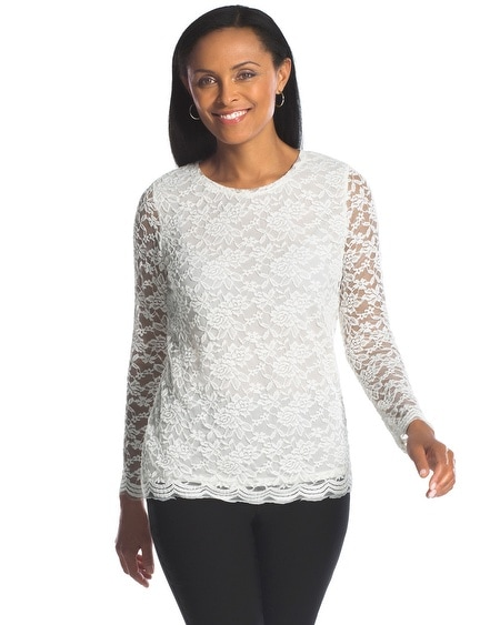 Scalloped Lace Top Scalloped-hem Lace Top