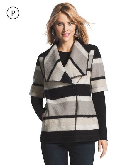 Petite Boiled Wool Striped Jacket