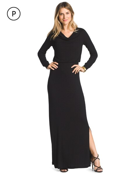 15125aa2bd6 Return to thumbnail image selection Petite Cowl Neck Black Maxi Dress video  preview image
