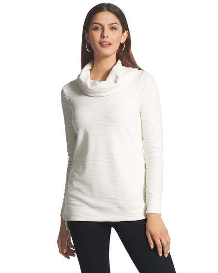 Zenergy Zebra Embossed Cowl Neck Sweater