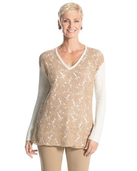 Christina Lace-Front Pullover Sweater