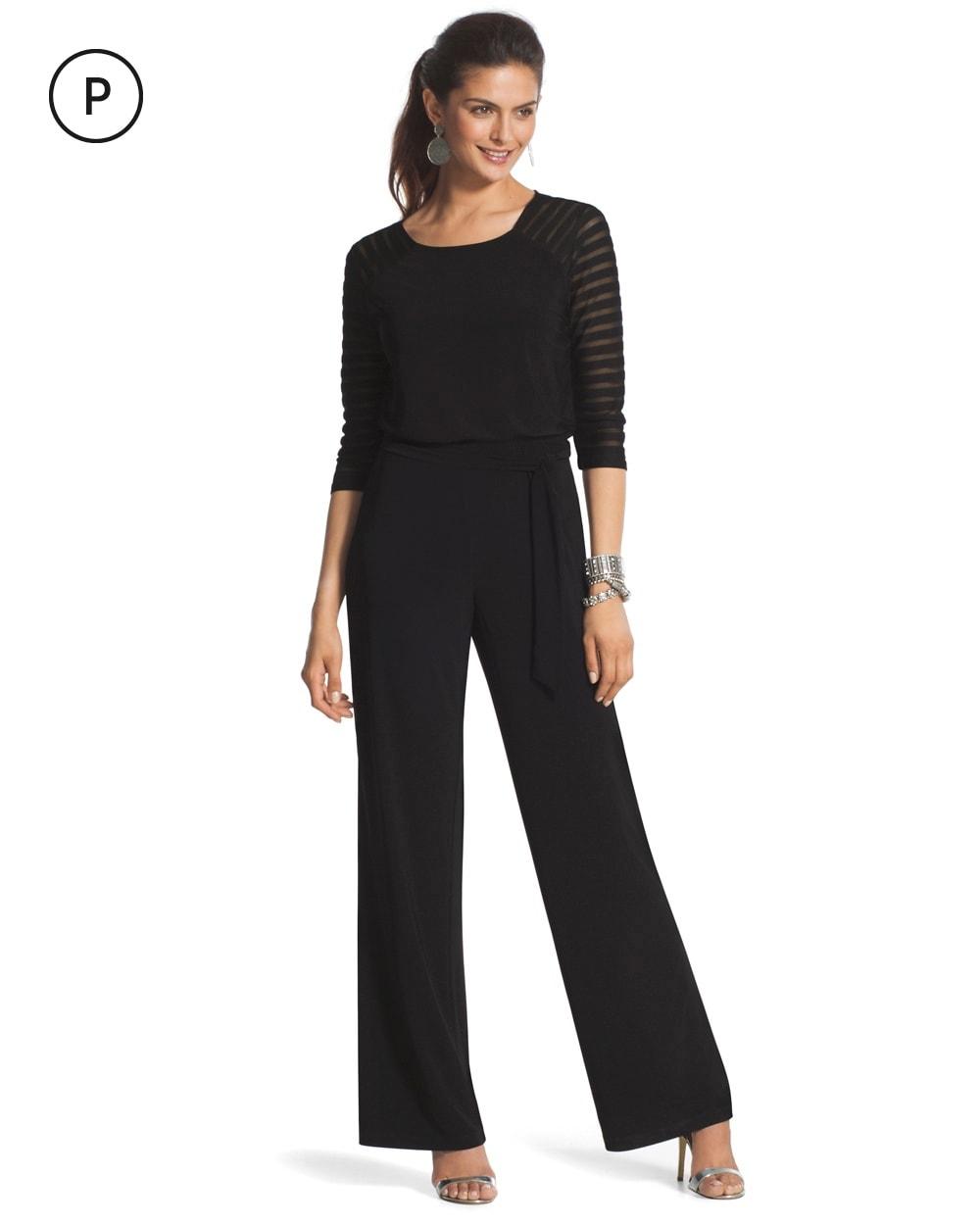 Petite Sheer Shoulder Black Jumpsuit - Chicos