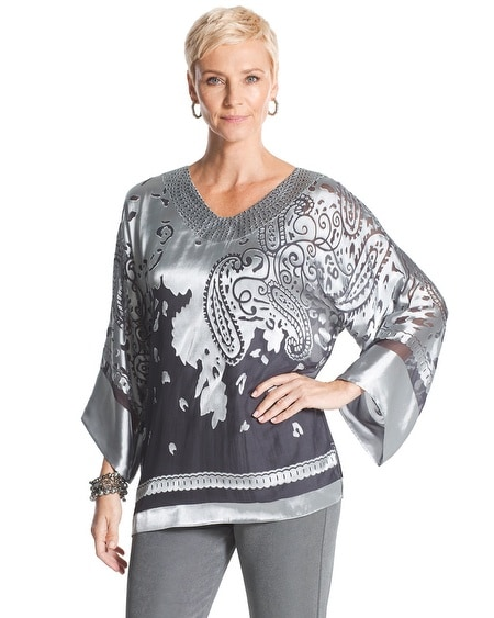 Travelers Collection Paisley Burnout Top