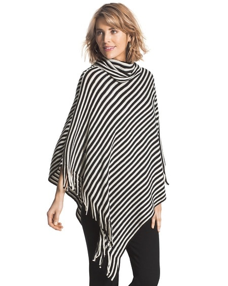Sassy Stripes Cowl Neck Poncho