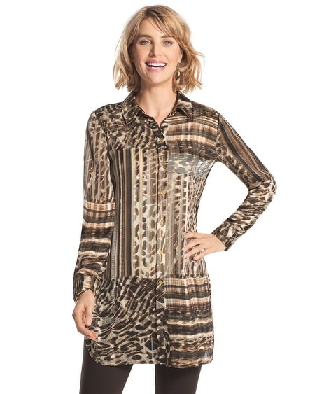 Aviana Striped Leopard-Print Top