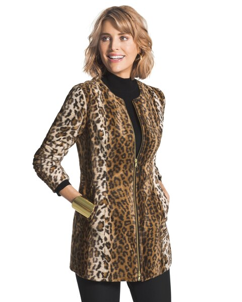 beee225ff852 Return to thumbnail image selection Faux-Fur Leopard Jacket video preview  image, click to start video