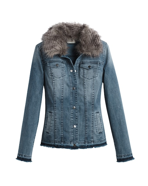 Faux-Fur Collar Denim Jacket - Chicos