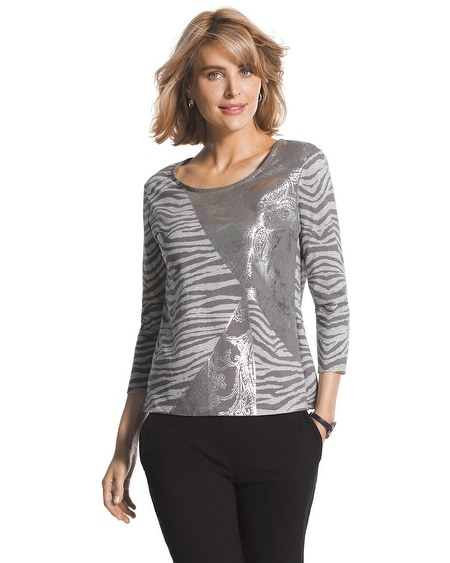 Zenergy Eliza Foiled Zebra Top