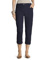 Casual Button-Cuff Crop Pants