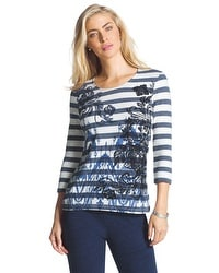 Zenergy Gretchen Paisley Striped Tee
