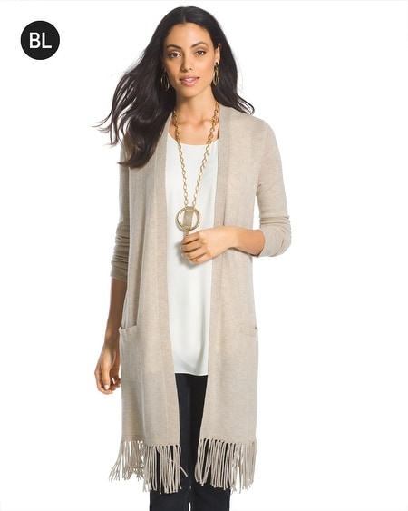 Black Label Fringe Cashmere Cardigan
