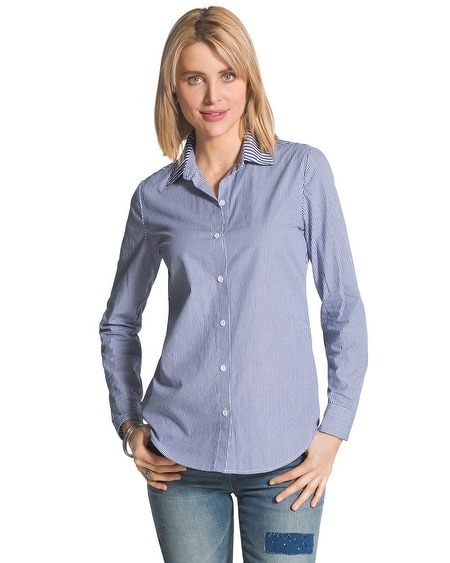 Mixed Stripe Button-Down Shirt