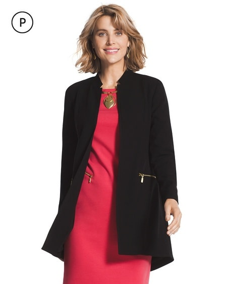 Petite Crepe Zip-Pocket Duster Jacket