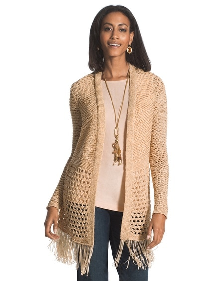 Travelers Collection Fringe Cardigan