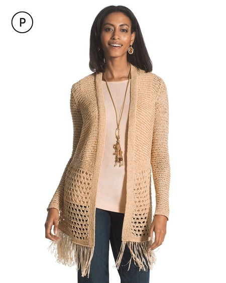 Travelers Collection Petite Fringe Cardigan