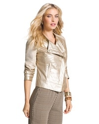 Faux-Leather Champagne Jacket