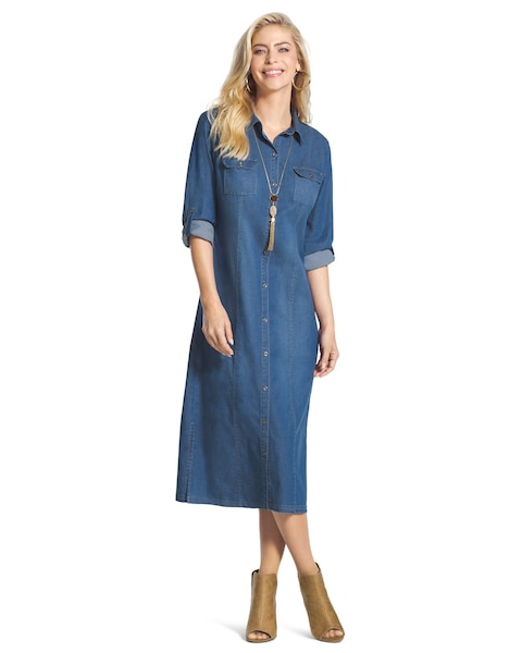 819a81a5053 Return to thumbnail image selection Denim Shirt Dress video preview image,  click to start video