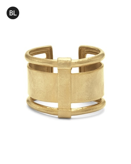 Black Label Cutout Cuff Bracelet
