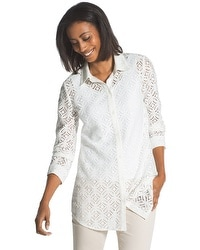 Lace Roll-Sleeve Shirt
