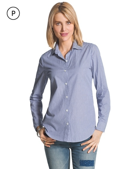 Petite Mixed Stripe Button-Down Shirt