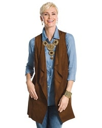 Faux-Suede Draped Vest