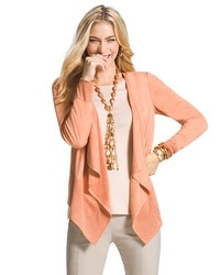 Faux-Suede Perforated Drape Jacket