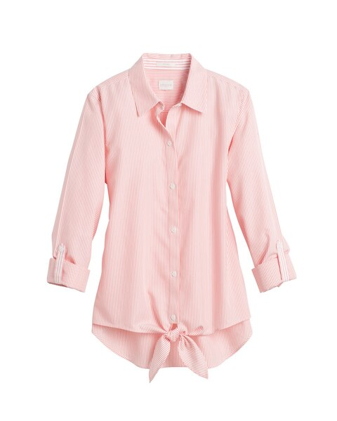 Striped tie front shirt chicos for Striped tie with striped shirt
