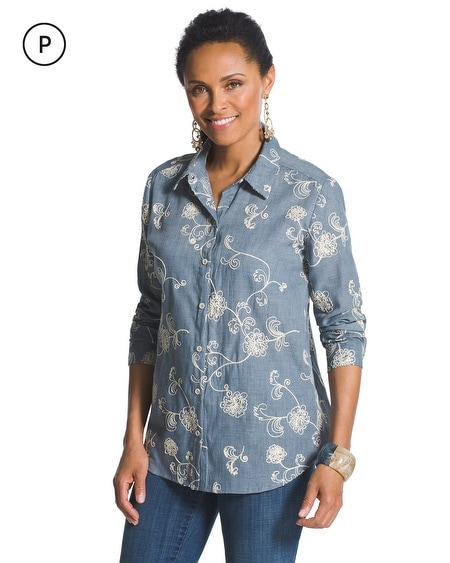 Petite Embroidered Chambray Shirt