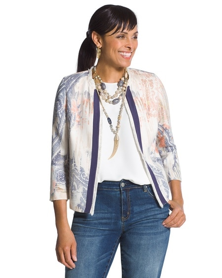 Watercolor-Print Textured Jacket