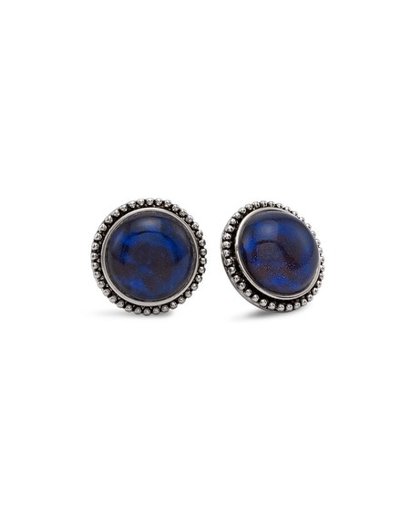 Riane Blue Button Earrings