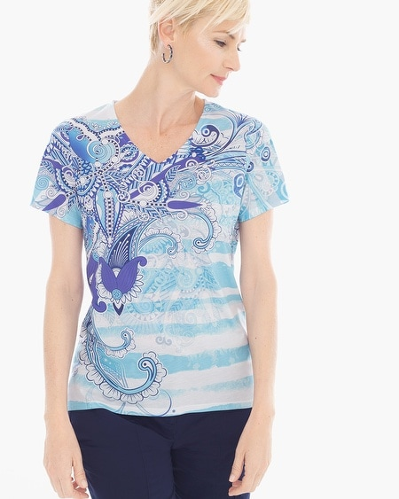 Zenergy Leigha Striped Print Tee