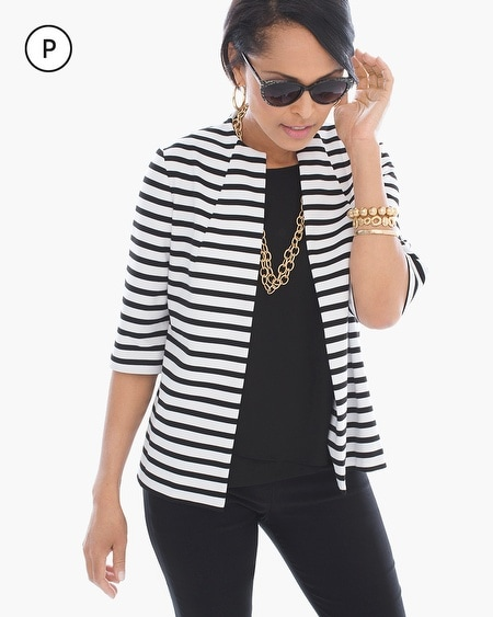 Petite Striped Spring Ponte Jacket