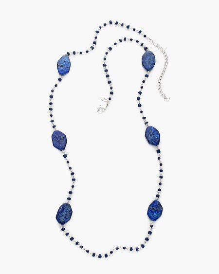Macy Faux-Lapis Slab Necklace