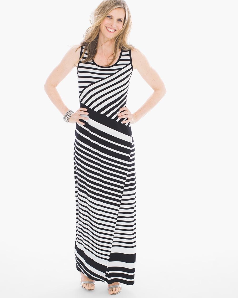 Black and white diagonal striped dress
