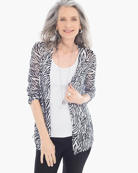 Graphic Side-Ruched Rita Cardigan