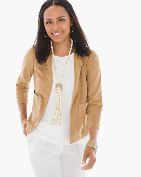 Faux Suede Perforated Jacket Chicos