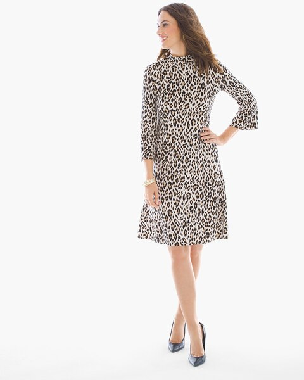 664b91a276 Return to thumbnail image selection Leopard-Print Mock Neck Short Dress  video preview image