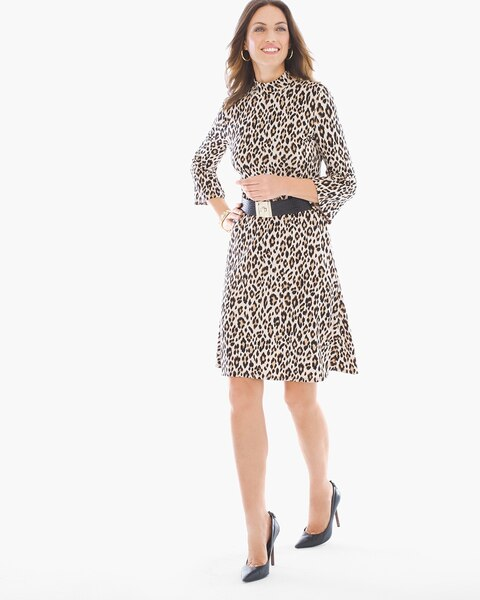 Leopard-Print Mock Neck Short Dress - Chicos