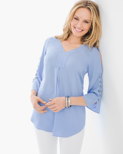 e72c55a11aa Return to thumbnail image selection Lace-up Cold-Shoulder Top video preview  image, click to start video